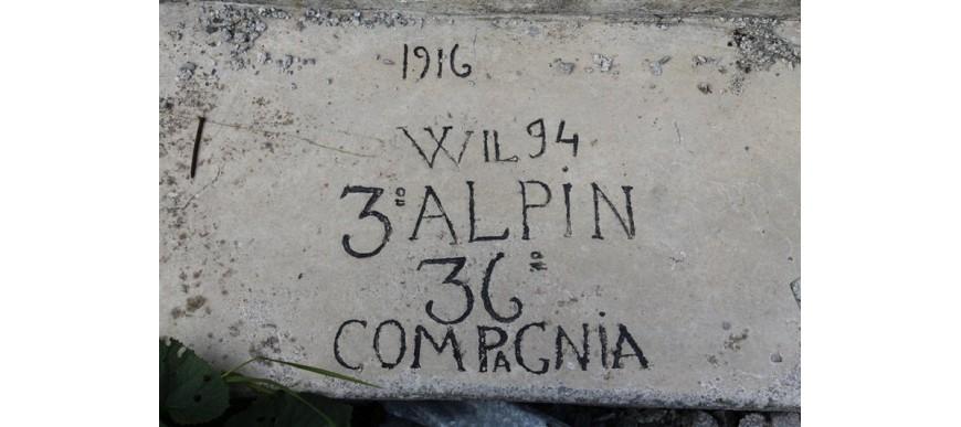 Museo all'aperto del Freikofel Campo Base: una scritta incisa nel 1916